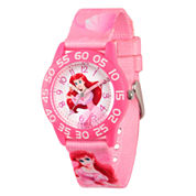 Disney The Little Mermaid Girls Pink Strap Watch-Wds000127