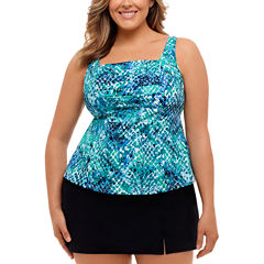 St. John's Bay Muted Reptile Pleated Square Neck Tankini or Side-Slit Swim Skirt - Plus
