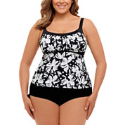 St. John`s Bay Dotty Daisy Framed Peasant Tankinior Adjustable Side Swim Bottom- Plus