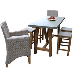 Outdoor Interiors Natural Teak Rectangle Bar TableDining set