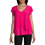 by&by Short Sleeve V Neck Blouse-Juniors