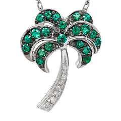 Lab-Created Emerald and Diamond-Accent Palm Tree Pendant Necklace