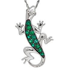 Lab-Created Emerald and Diamond-Accent Lizard Pendant Necklace