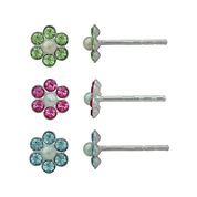 Girls Crystal and Simulated Pearl Sterling Silver 3-pr. Stud Earring Set