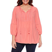St. John's Bay 3/4 Sleeve Scoop Neck Woven Blouse-Plus