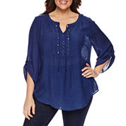 Claiborne 3/4 Sleeve Roll Tab Sleeve Solid Peasant Top Plus