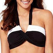 Liz Claiborne® Colorblock Molded Bandeau Swim Top
