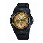 Casio® Mens Champagne Dial Black Resin Strap Sport Watch MW600F-9AV