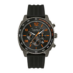 Caravelle New York® Mens Chronograph Black Silicone Strap Watch 45B141