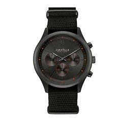Caravelle New York® Mens Black Nylon Fast Strap Watch 45A130