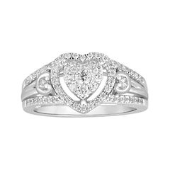 I Said Yes™ 1/2 CT. T.W. Diamond Heart-Shaped 10K White Gold Bridal Ring
