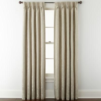 Liz Claiborne® Fleur Jacquard Pinch Pleat/Back Tab Room Darkening Curtain