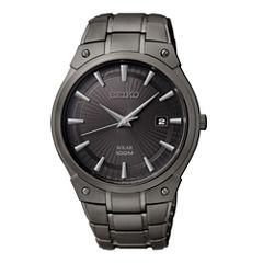 Seiko® Mens Black Ion Stainless Steel Solar Watch SNE325