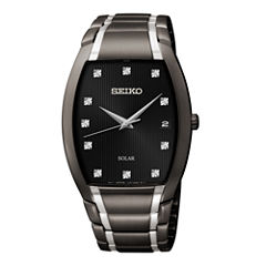 Seiko® Mens Two-Tone Black Ion Stainless Steel Solar Diamond Watch SNE335
