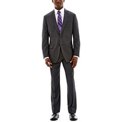 Claiborne Charcoal Herringbone Stretch Suit-Classic Fit