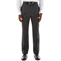 Claiborne® Charcoal Herringbone Flat-Front Suit Pants
