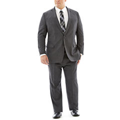 Claiborne® Charcoal Herringbone Suit Separates - Big & Tall