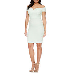 Bisou Bisou Short Sleeve Lace Sheath Dress