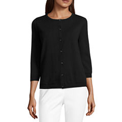 Liz Claiborne 3/4 Sleeve Lace Back Button-Front Cardigan