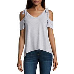 a.n.a Neck Tie Cold Shoulder Top
