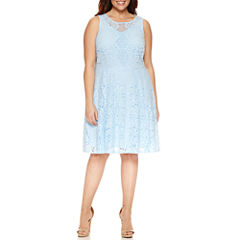 Danny & Nicole Sleeveless Lace Fit & Flare Dress-Plus