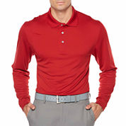 PGA Tour Long Sleeve Solid Mesh Polo Shirt