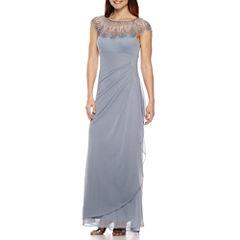DJ Jaz Cap-Sleeve Beaded Formal Gown