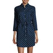 St. John`s Bay 3/4 Sleeve Shirt Dress