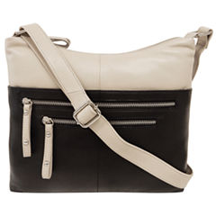 east 5th Leather Front Zipper Hobo Bag