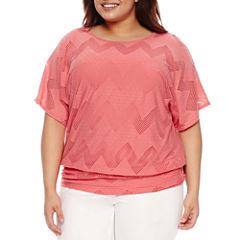 Alyx Short Sleeve Banded Bottom Knit Blouse-Plus