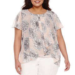 Alyx Short Sleeve Floral Woven Blouse-Plus