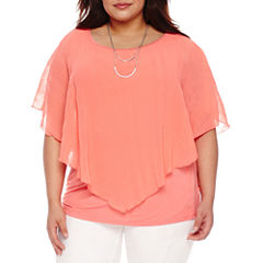 Alyx Short Sleeve Textured Woven Overlay Blouse with Necklace-Plus
