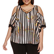 Bisou Bisou Short Sleeve Cold Shoulder V Neck Woven Blouse-Plus
