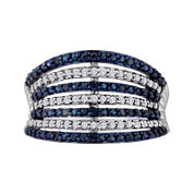 1/2 CT. T.W. White and Color-Enhanced Blue Diamond 7-Row Band Ring