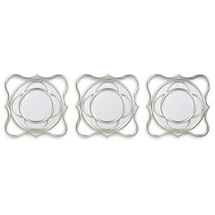 Set of 3 Silver Wave Mirrors
