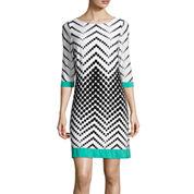 Studio 1® 3/4-Sleeve Chevron Dot Shift Dress