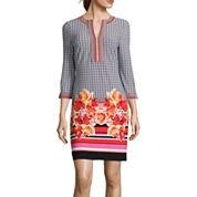 Trulli 3/4-Sleeve Medallion-Print Shift Dress