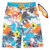 Zero Xposur® Shark Danger Swim Trunks With Goggles - Boys 8-20
