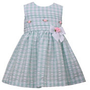 Bonnie Jean sleeveless seersucker check with rosebuds and bow Dress - Baby Girls