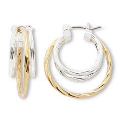 Mixit Two-Tone Diamond-Cut Hoop Earrings