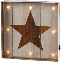 Star LED Galvanized Framed Marquee Wall Art