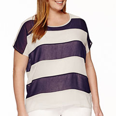 Worthington® Short-Sleeve Colorblock Layered Tee - Plus