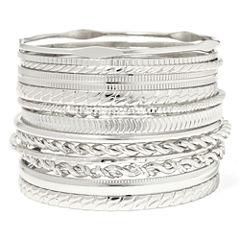 Liz Claiborne® Silver-Tone Textured Bangle Set