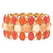 Liz Claiborne® Gold-Tone Orange Stretch Bracelet