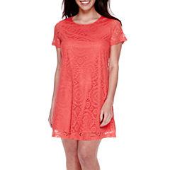 DQT Short-Sleeve A Line Lace Sheath Dress - Petite