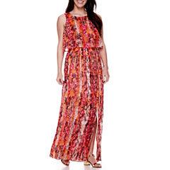 DQT Sleeveless Popover Pleated Maxi Dress - Petite