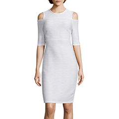 I 'Heart' Ronson® 3/4-Sleeve Ribbed Cold-Shoulder Dress