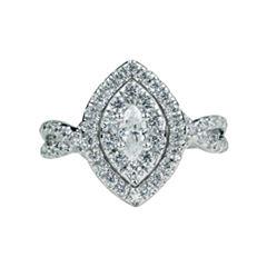 Modern Bride Signature Womens 1 CT. T.W. Genuine Marquise White Diamond 14K Gold Engagement Ring