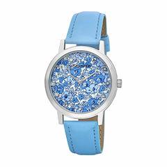 Laura Ashley Womens Floral Print Dial Blue Strap Watch-LA31022BL