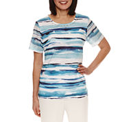 Alfred Dunner Scenic Route Short Sleeve Stripe T-Shirt-Petites